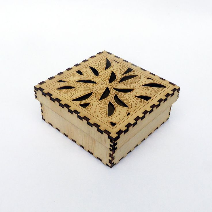Plywood laser cut box kit - self assembly with Cut Out Leaves top design. by KarenSmithDesigns on Etsy