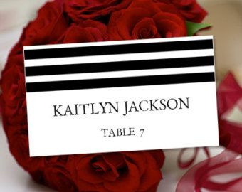 "Printable Place Cards ""Simply Stripes"" Black & White Word.doc Tent Card Template Avery 5302 Compatible 