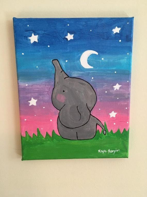 Best Cute Elephant Acrylic 8X10 Canvas Painting Kids Canvas 400 x 300