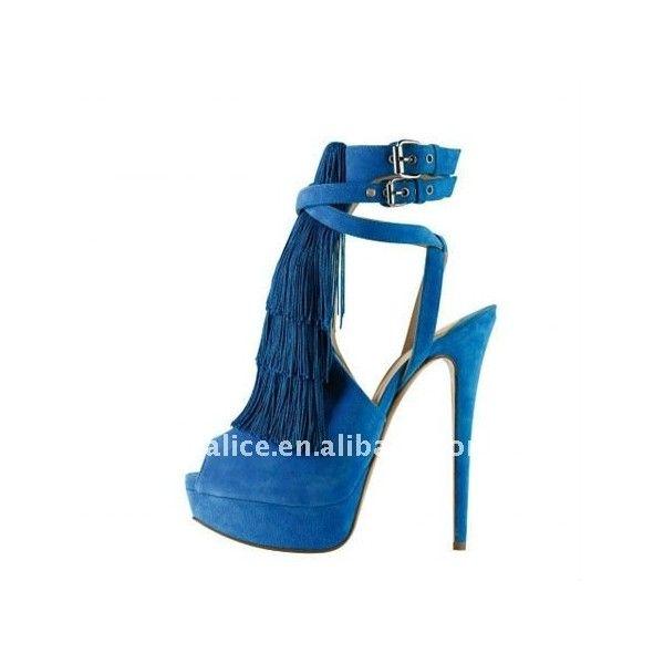 Cl034 novo estilo peep alta sapatos de salto, franja recorte sapatas de vestido, azul found on Polyvore