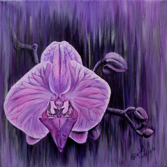 Purple Pink ORCHID FLOWER Hand made PAINTING Original by Pilipart, $180.00