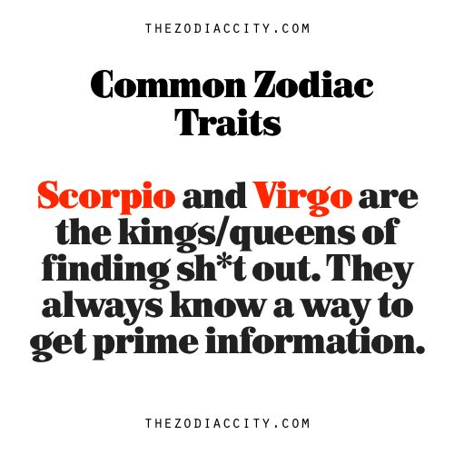Common Zodiac Traits: Scorpio and Virgo are the kings/queens of finding sh*t out. They always know a way to get prime information.