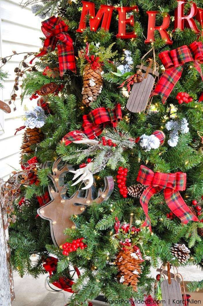 Rustic Plaid Farmhouse | Cabin Christmas Tree by Kara Allen | KarasPartyIdeas.com for Michaels #MichaelsMakers Holiday Dream Tree Challenge