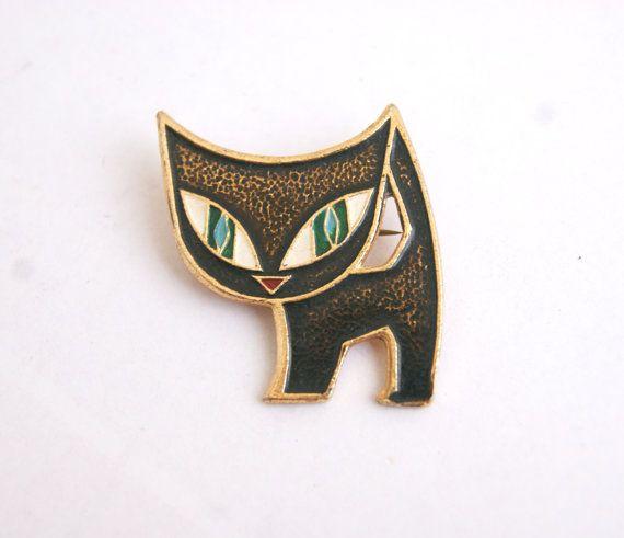 Lovely vintage USSR Soviet pin/brooch black cat by ShopVirginija
