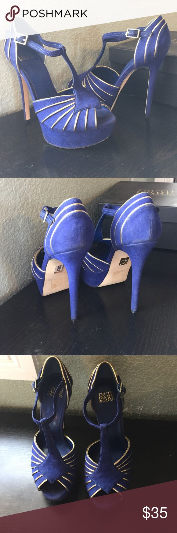 Cobalt Blue Heels Heel Height: 5.25 inches....platform: 1.5 inches light signs of wear, except on the straps. Truth or Dare By Madonna Shoes Heels