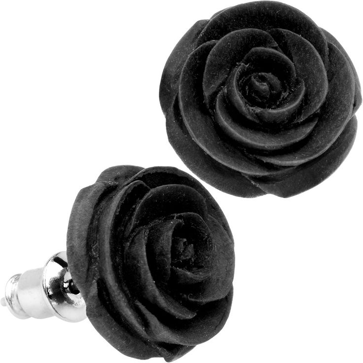 Organic Black Wood Hand Carved Rosebud Stud Earrings