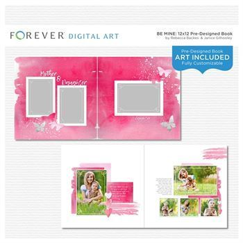 Be Mine Pre-designed Book 12x12  This pre-designed, photo-ready book template is fully customizable for 12 x 12 or 8 x 8 pages. Papers and elements are included.  Contains: 1 cover and 21 pre-designed pages