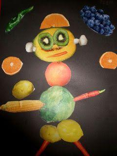 Cuando se estudie el tema de la rueda de los alimentos, se pueden coger diferentes recortables de frutas y crear seres humanos o seres vivos. Para fomentar su creación y expresión.