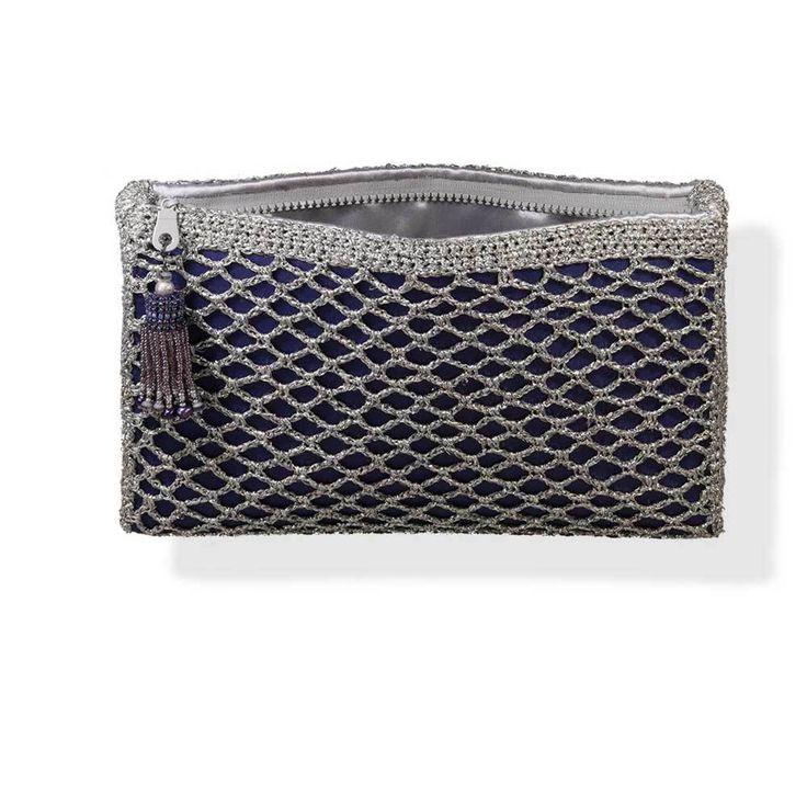Handmade Purple Silver Shimmering Knitted Crochet Bag - Anthos Crafts