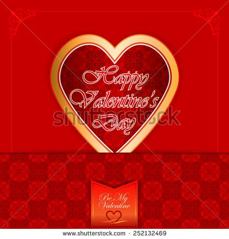 Vintage labels with Happy Valentine's Day text; Be My Valentine text and nice heart logo; Ornamental arabesques background.  - stock photo