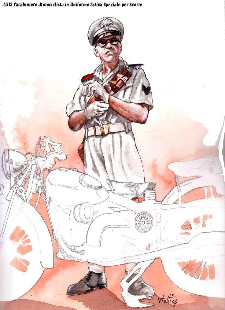 Afis Carabiniere motociclista in Grande Uniforme estiva