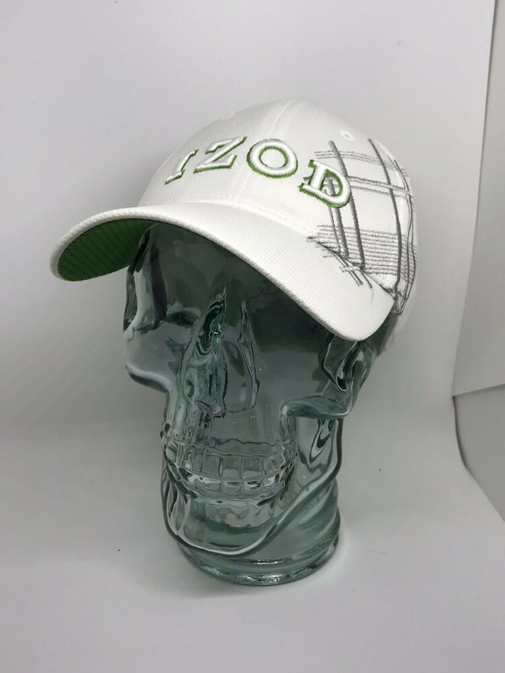 Izod fitted logo hat white green one size baseball cap