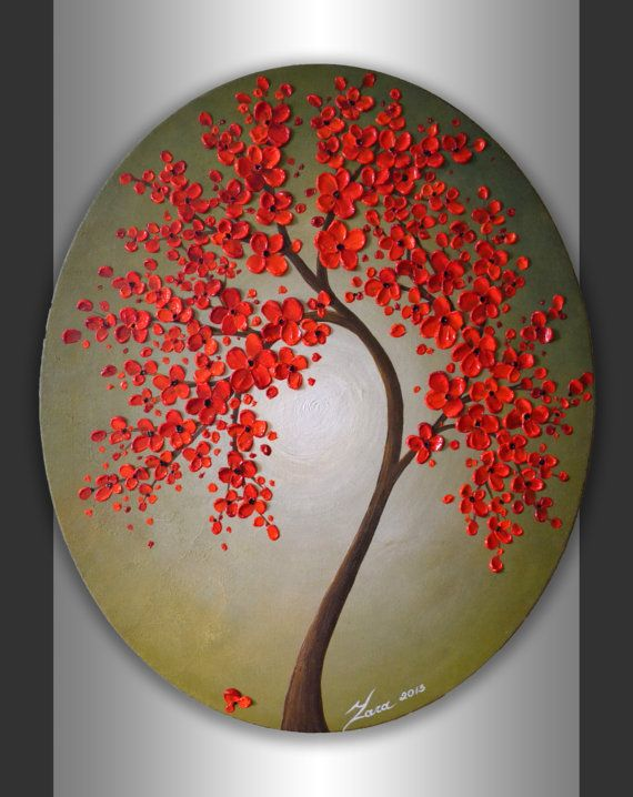 24x20 Oval Canvas ORIGINAL Abstract Landscape, Heavy Impasto Textured Art Red Blossom Tree Painting, Modern Acrylic Artwork by ZarasShop