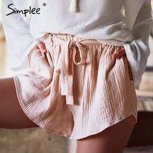 Simplee Arco pantalones cortos de cintura alta mujeres de playa de Moda de verano 2017 pantalones cortos de la correa sash sexy pantalones cortos de algodón Elástico casual short negro(China (Mainland))