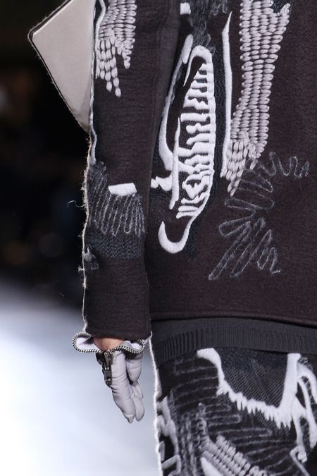 Abstract embroidery on felt - textiles techniques; fashion design detail // Rick Owens