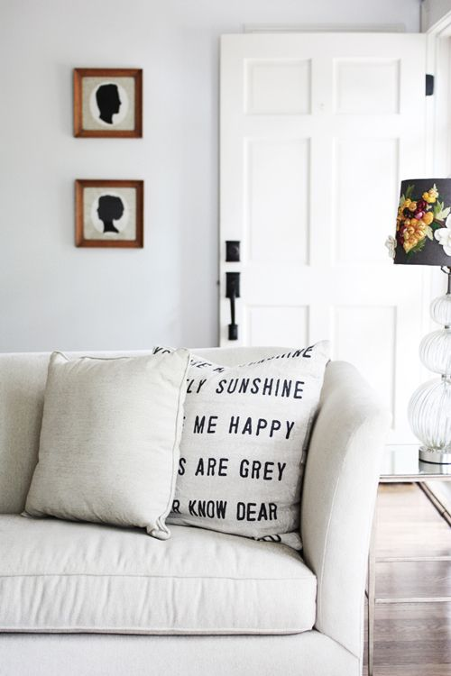 you are my sunshine pillow - possible DIY? Great post from Design Sponge