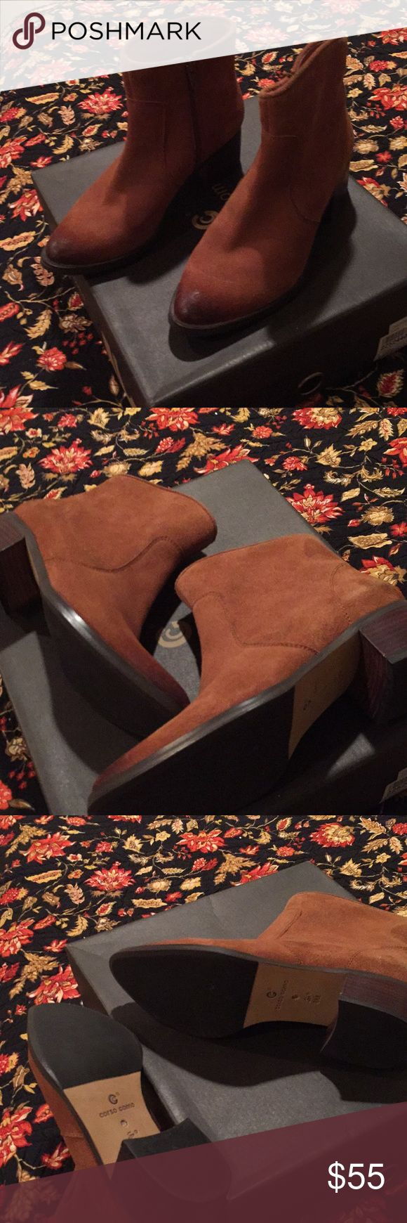 """Corso Como,  6B, NWB, Ankle Booties / Boots High quality,  suede leather inside and out.  Popular block-heel, wonderful Corso Como footbed, cushioning system.  Perfect! New in box. """"Chatham"""" style, """"Luggage"""" is the color.  I am selling several excellent, high-quality pair of shoes in size 6 B.  No smoking home, no pets.  CORSO COMO is my favorite brand!  Sold at Nordstrom and Dillards. Corso Como Shoes Ankle Boots & Booties"""