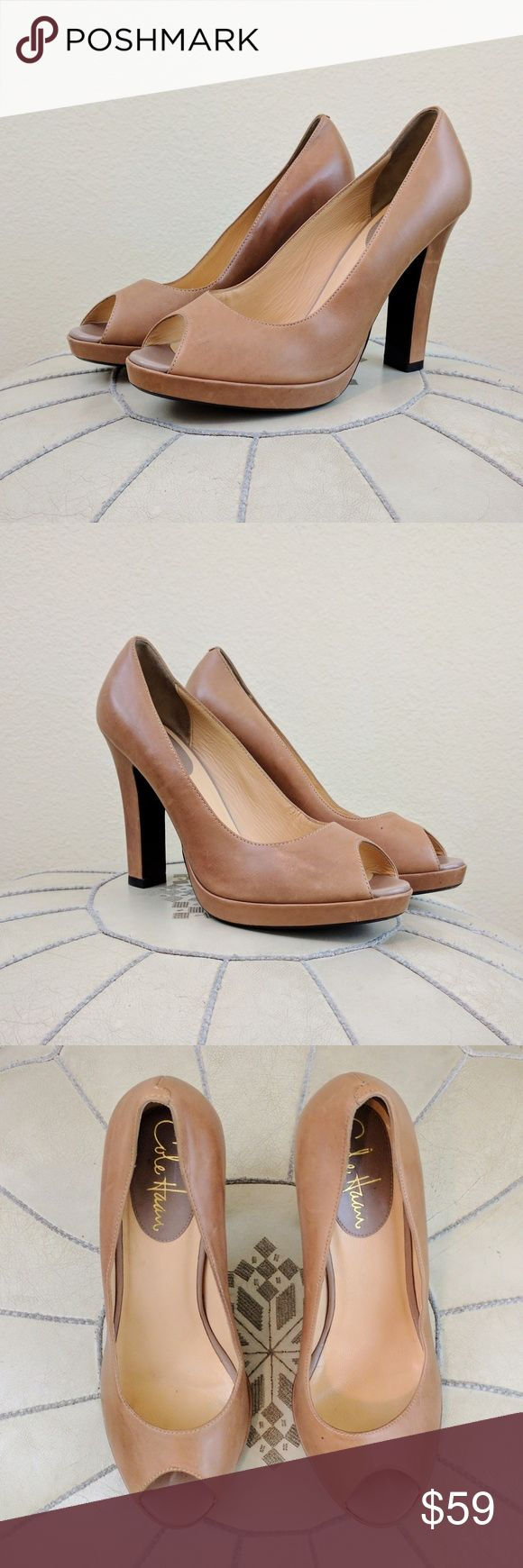 """Cole Haan Peep Toe Platform Neutral Pumps Sz 7.5 These classic peep toe high heels from Cole Haan feature a stacked heel that measures approx 4"""" with a 1/2"""" platform. Camel color leather. Excellent condition. Sz 7.5 Cole Haan Shoes Heels"""
