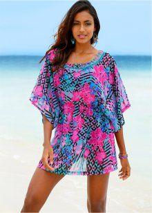 Пляжное платье, bpc selection, бирюзовый/ярко-розовый