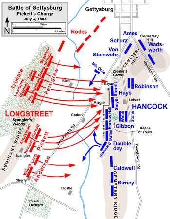 Map of Pickett's Charge, Battle of Gettysburg, July 3, 1963