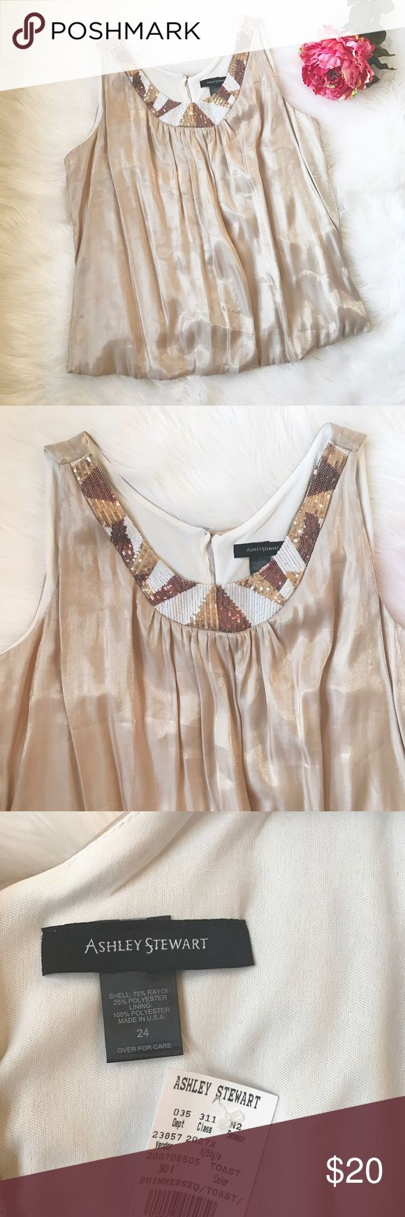 Ashley Stewart Sequin Tank Beautiful dressy tank with sequin embellishment. Brand new condition 💕 Ashley Stewart Tops Tank Tops