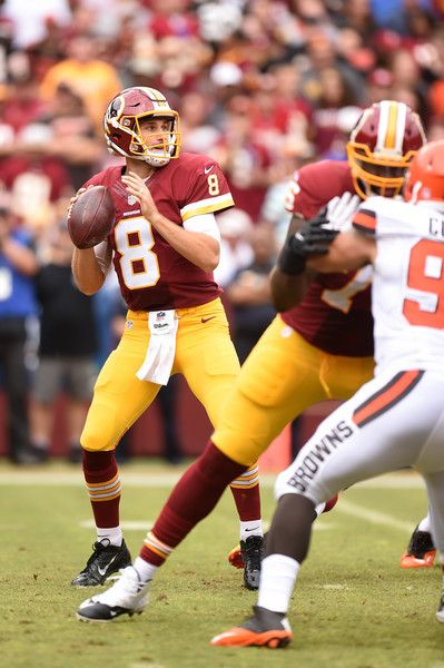 Quarterback Kirk Cousins #8 of the Washington Redskins looks to pass against the Cleveland Browns in the second quarter at FedExField on October 2, 2016 in Landover, Maryland.