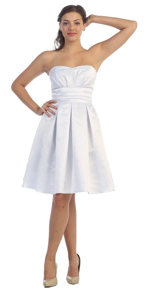 White Knee Length Bridesmaid Dress Strapless Empire Pleated Bodice