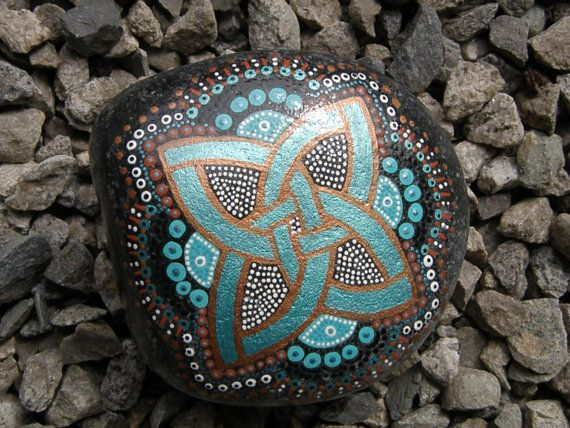 Hand Painted Rock with Celtic Motif