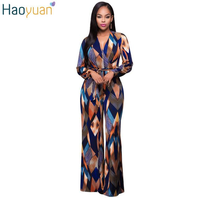 Check lastest price HAOYUAN 2017 Fashion Vintage Long Sleeve Jumpsuit V Neck Bandage Jumpsuit Overalls Summer Playsuit Elegant Casual Women Bodysuit just only $16.79 with free shipping worldwide  #womanjumpsuits Plese click on picture to see our special price for you