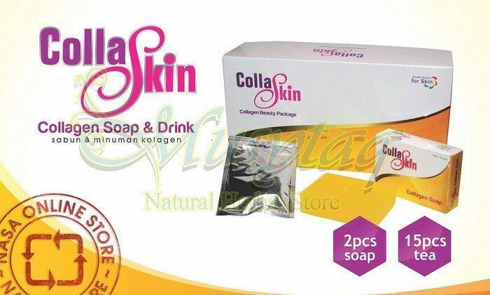 COLLASKIN Collagen Soap and Drink merupakan kombinasi sinergi dua produk perawatan kulit dari dalam dan luar tubuh. CollaSkin Collagen Drink bekerja dari dalam tubuh membantu mempercepat regenerasi kulit secara efektif. CollaSkin Collagen Soap bekerja dari luar membantu mengikis noda hitam mengangkat sel kulit mati dan mencerahkan kulit.  Satu box isi 2 sabun (collagen soap) dan 15 sachet collagen drink. 1 sachet isi 2 kantung teh.  Kandungan Collagen drink : 1. Ramuan teh ini mengandung…