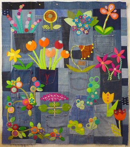 Blue Mountain Daisy: Denim Garden Quilt. Appliqué on denim. Gorgeous!!