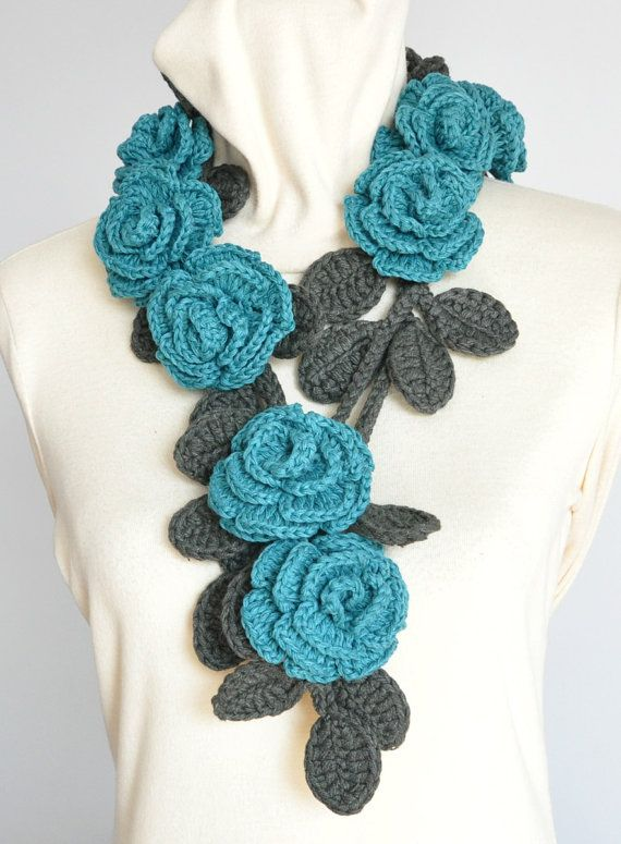 ROSA TURQUOISE Crochet Multicolor Roses by jennysunny on Etsy, $27.00