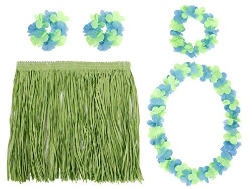Déguisement Hawaïen Ensemble de 5 pièces: Jupe, collier, couronne et deux bracelets tropicale Hawaï hawaii ambiance tropique déguisement…