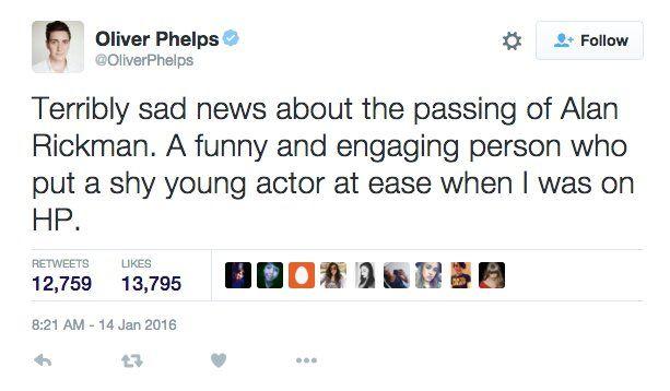 Pin for Later: Le Cast de Harry Potter Réagit à la Triste Nouvelle Concernant Alan Rickman Oliver Phelps