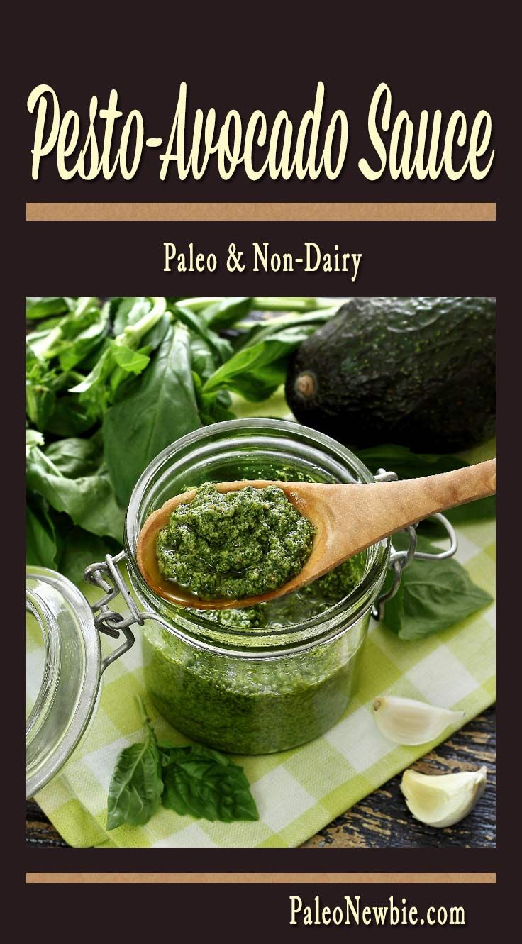 "A quick, easy and flavor-packed pesto sauce to brighten any dish. Made just a little creamier and ""cheesier"" with ripe avocado. No dairy, all paleo!"