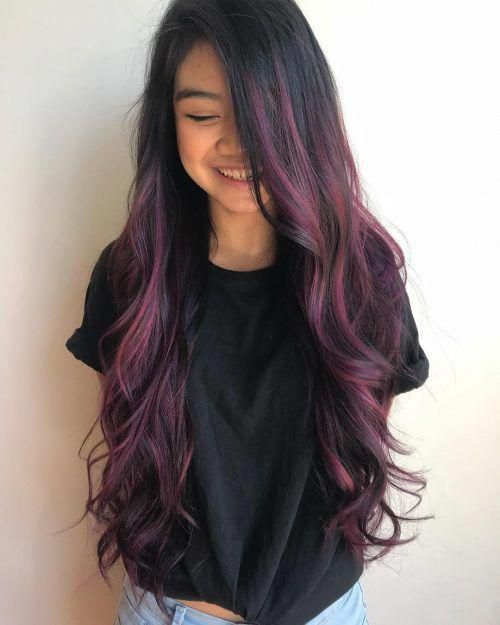 Dark Purple Highlights on Black Hair #blackhair
