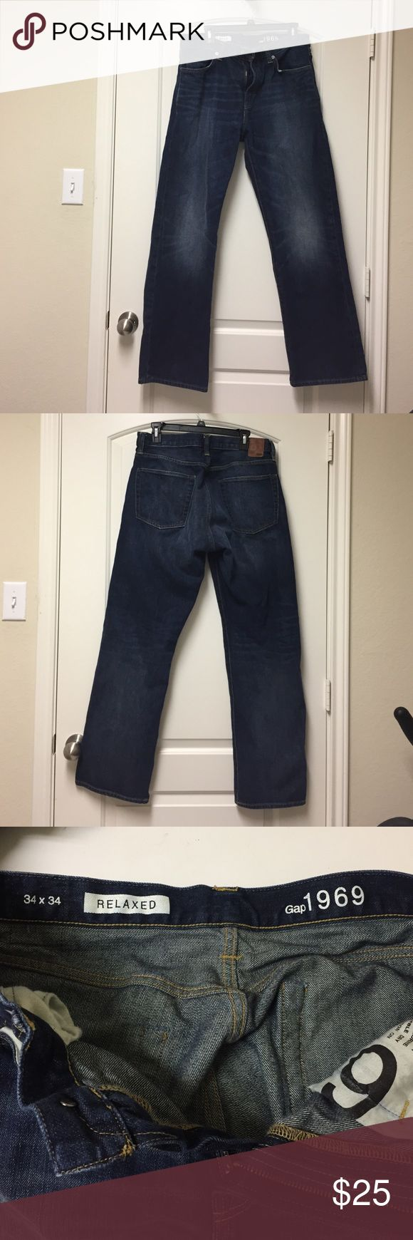 Like new Gap 1969 Men's relaxed fit jeans Men's Gap 1969 relaxed jeans dark wash. Hardly worn, size 34/34 GAP Jeans Relaxed