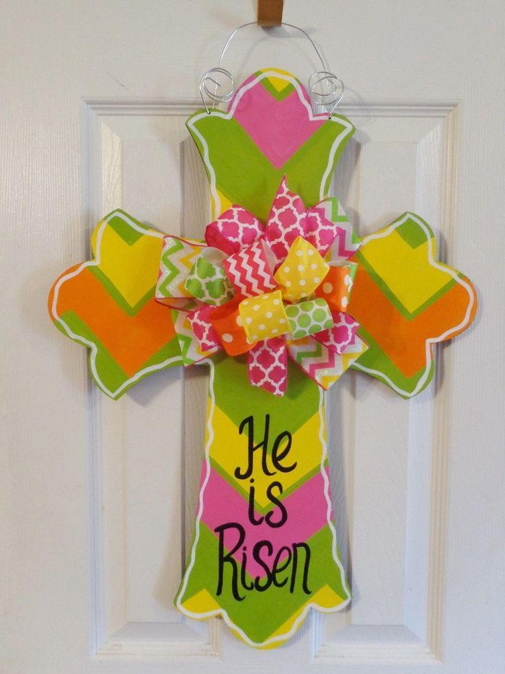 Handpainted Wood Door Hanger Easter Cross Chevron He is Risen or Initial | eBay