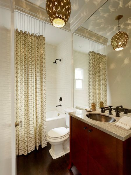 Image result for tile to ceiling with tall shower curtain