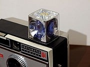 Camera with flash cube