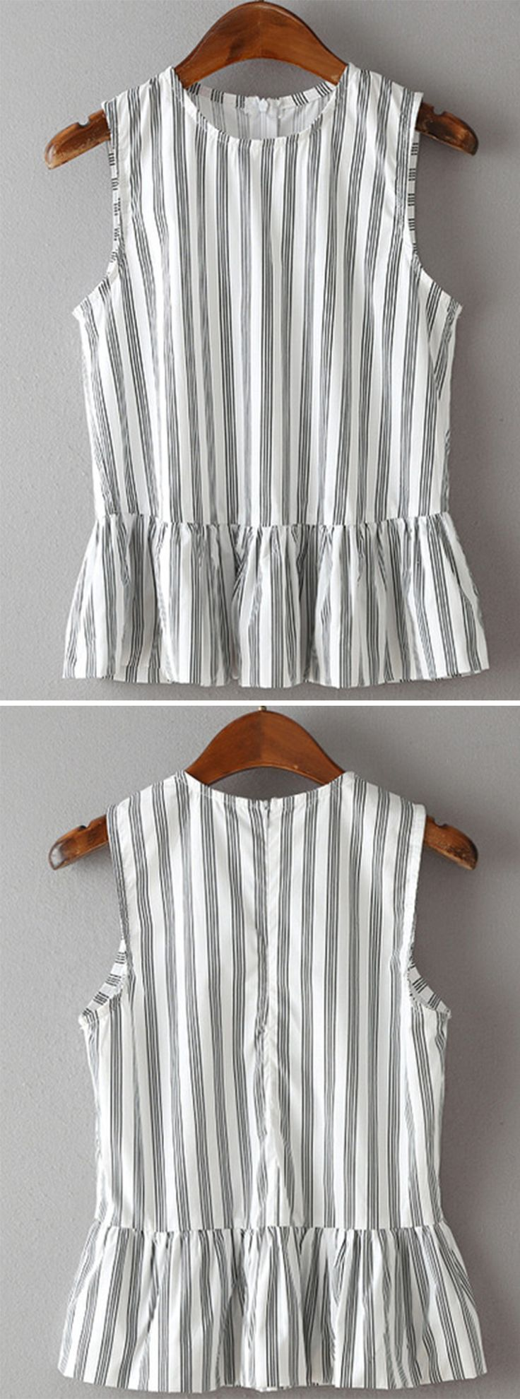 Vertical Striped Sleeveless Peplum Top:
