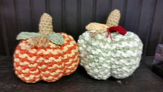 This cute crocheted pumpkin would look so pretty on a fireplace mantle. It looks like a real pumpkin but will last so much longer! The colors really make it feel like fall! The one pumpkin is orange and gold. The other pumpkin is cream and sage green. The pumpkin measures 6 inches tall and 17 inches round. The stem is a light brown and the leaves are either green or yellow and burgundy. This is a great gift and can be used as a decoration up until Thanksgiving. Great housewarming gift!  Thus…