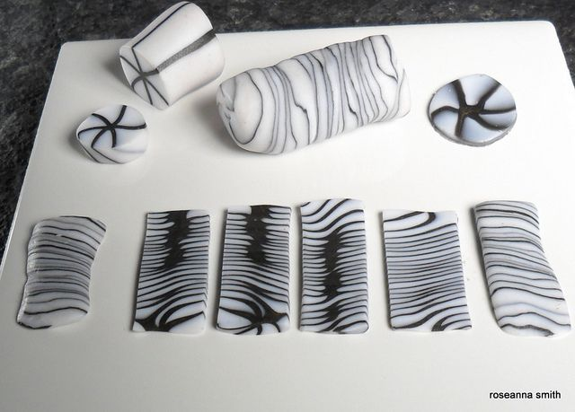 Twisted cane - black & translucent #Polymer #Clay #Canes