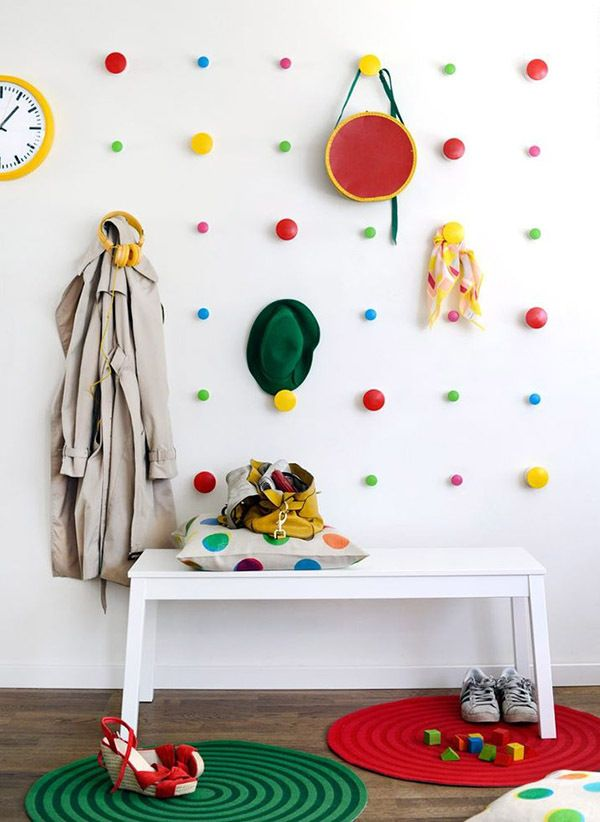 Ikea wall dots! A perfectly stylish and afforable way to decorate the walls of your cubby house. Plus plenty of space to hang up your things. They can be screwed on very easily.