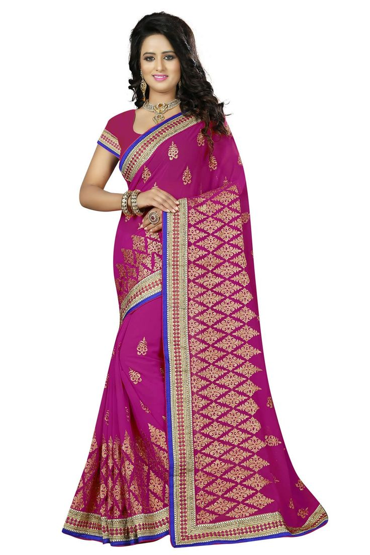 buy saree online Rani Colour Georgette Jari Embroidery and Stone Work Saree Buy Saree online UK  - Buy Sarees online