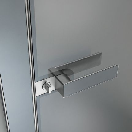 Flush swing door Luxor. Handle with flush mounted tempered glass in the same colour of the door panel. Magnetic locking device with revolving nut.