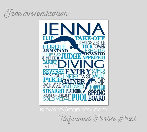 Women's Diving Typography Art Print perfect for by twenty3stars