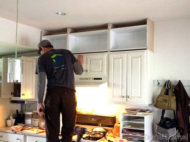 Extending kitchen cabinets to the ceiling {Sawdust & Embryos}