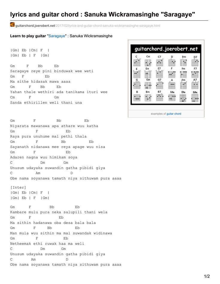 Guitarchord Joerobert Net Lyrics And Guitar Chord Sanuka