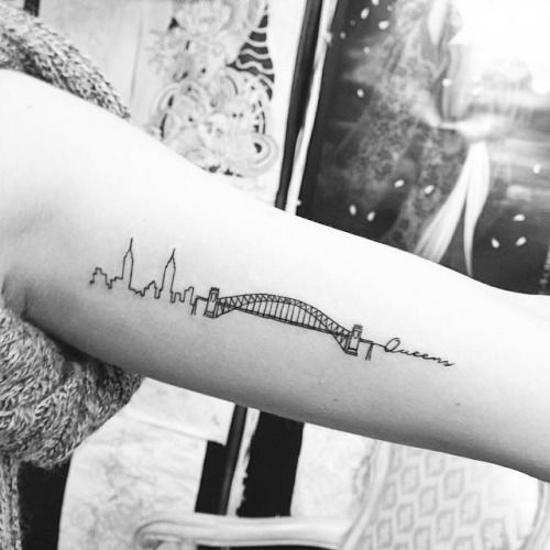 New Yorks Hell Gate Bridge tattoo on the left inner arm....